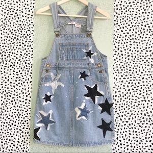 SOLD Denim Star Patchwork Overall Dress Pinafore